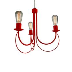 LAMPARA CARDIFF FORJA 3 LUCES COLOR ROJA