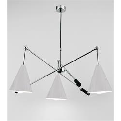 LAMPARA MIAMI CROMO 3LUCES C/P METAL BLANCA