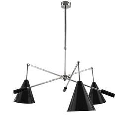 LAMPARA MIAMI CROMO 3LUCES C/P METAL NEGRA