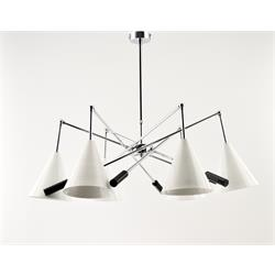 LAMPARA MIAMI CROMO 6 LUCES C/P METAL BLANCA