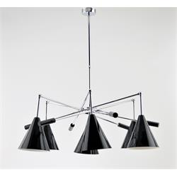 LAMPARA MIAMI CROMO 6 LUCES C/P METAL NEGRA